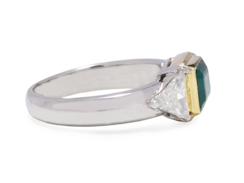 Emerald & Triangular Diamond Ring