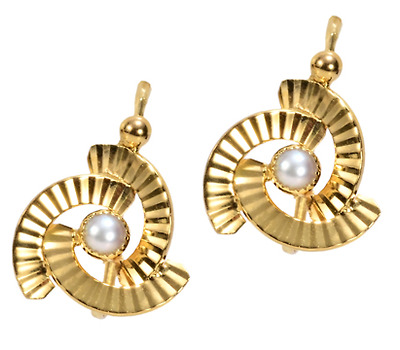 French Dormeuse Pearl Earrings