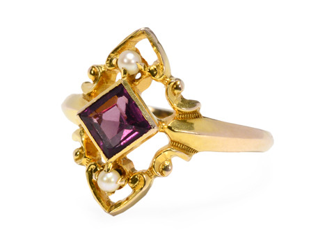 Paradise: Antique Garnet & Pearl Ring
