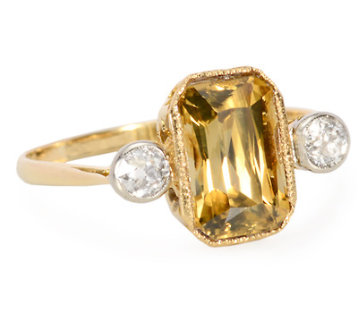 Edwardian Natural Zircon Diamond Ring