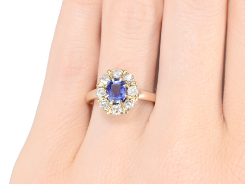 Colorful Romance: Sapphire Diamond Cluster Ring