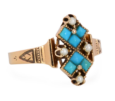 Antique Turquoise Pearl Ring