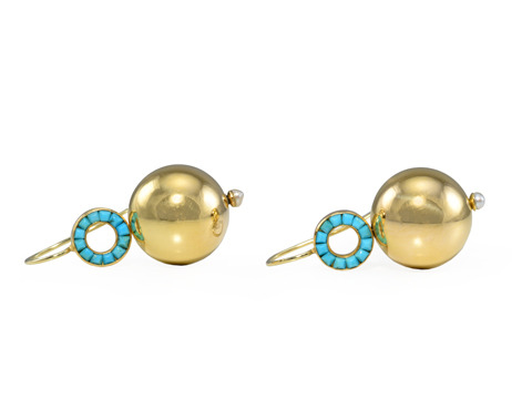 Sphere of the Heavens - Victorian Turquoise Earrings