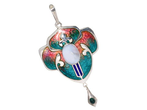 Arts & Crafts Enamel Pendant & Chain