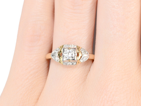 Details & More: Two Color Gold Diamond Ring