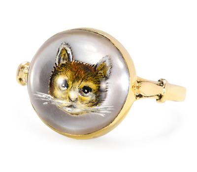 Antique Essex Crystal Ring of a Cat