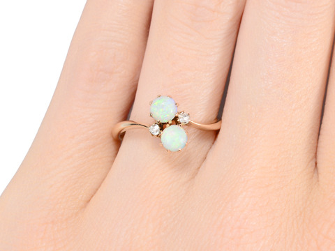 Vintage Opal Diamond Crossover Ring