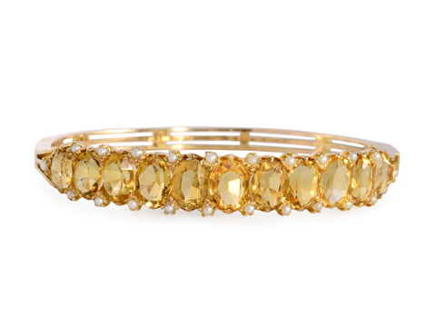 Edwardian Citrine & Pearl Bangle Bracelet