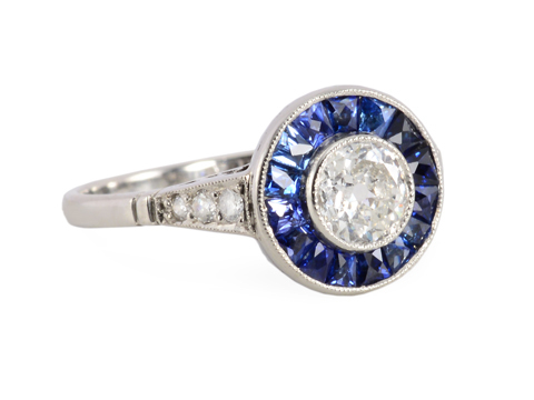 Halo Ring with Diamonds & Sapphires