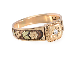 Two Color Gold Gypsy Set Diamond Ring