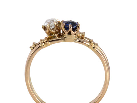 Two As One: Antique Sapphire & Diamond Ring