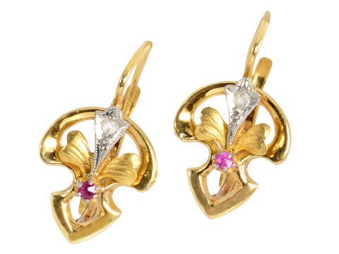 Art Nouveau Iris Flower Earrings