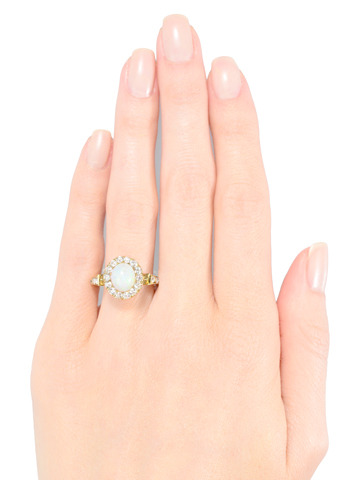 Ethereal Halo Opal Diamond Ring