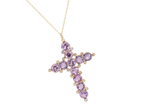 Georgian Amethyst Chrysoberyl Cross Pendant