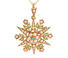 Pearl & Demantoid Star Brooch Pendant