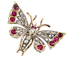 Victorian Interest: Diamond Ruby Butterfly Brooch