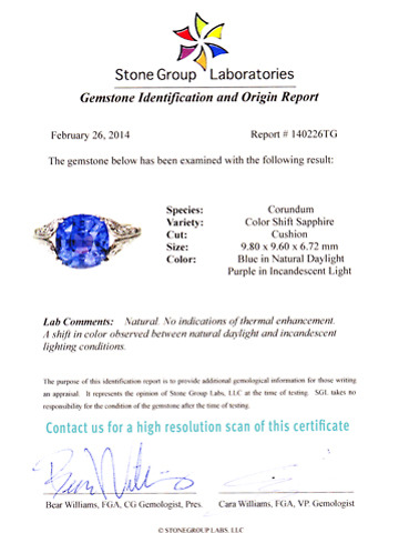Fantastic 5.5 ct. No Heat Color Change Sapphire Ring
