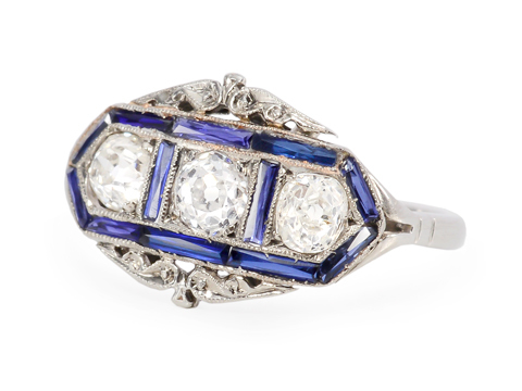 Art Deco Three Diamond Sapphire Ring