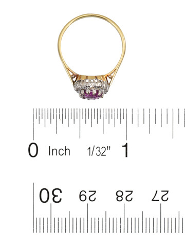 Pink Sapphire Diamond Cluster Ring