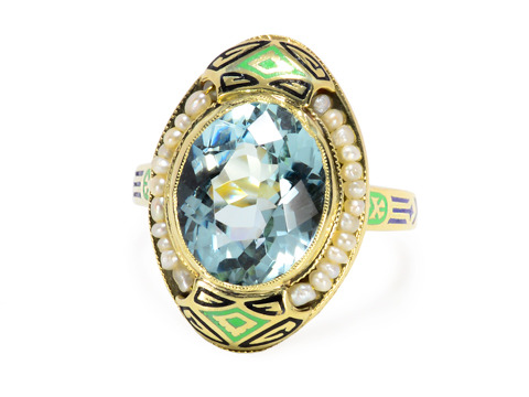 Art Deco Alive - Aquamarine Pearl Ring