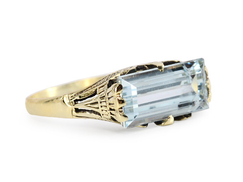 Art Moderne Vintage Aquamarine Ring