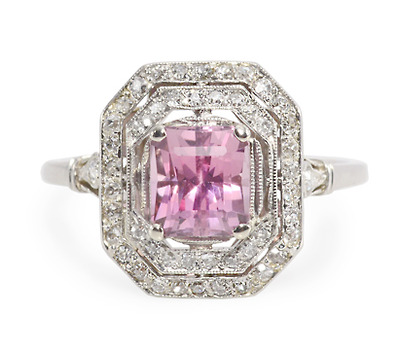 Artful Finesse: Pink Spinel Diamond Ring