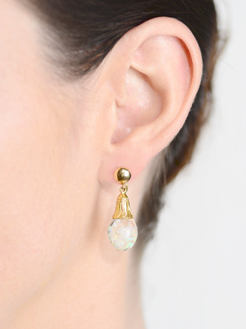 Down the Nile: Art Deco Floating Opal Earrings