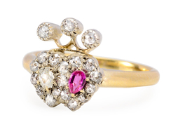 Victorian Diamond Garnet Luckenbooth Ring