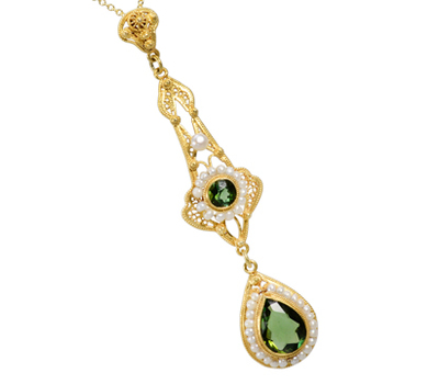 Green Tourmaline & Pearl Pendant Necklace