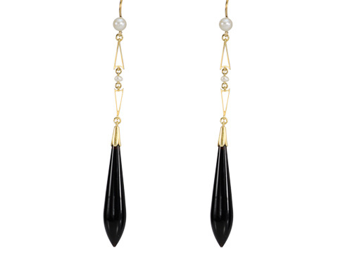 Flapper Finery: Onyx Pearl Pendant Earrings