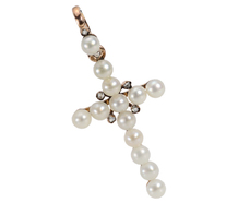 Glowing Faith: French Pearl Diamond Cross