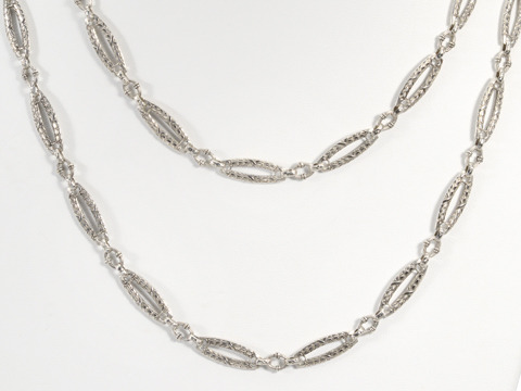 Belle Époque Silver Long Chain Necklace