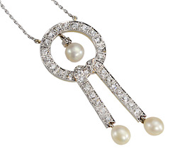 Black, Starr & Frost Diamond Natural Pearl Necklace