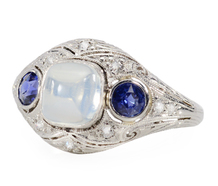 Blue Moonstone Diamond Ring