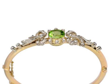 Edwardian Diamond Peridot Bangle