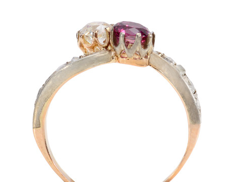 Joining of Two - Ruby Diamond Crossover Ring