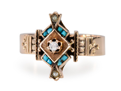 Victorian Diamond Turquoise Pearl Set Ring