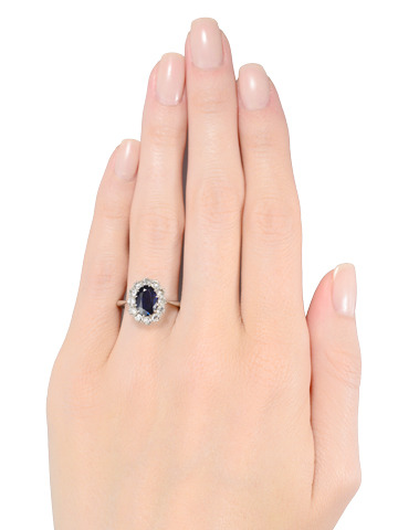 Oval Sapphire Diamond Cluster Ring