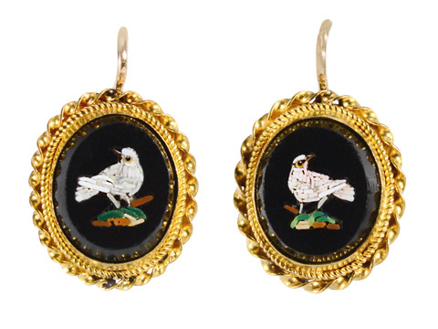 Victorian Italian Micro Mosaic Bird Earrings
