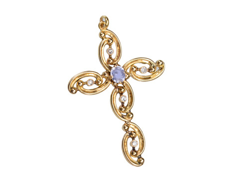 Vintage Cross with Sapphire & Diamonds