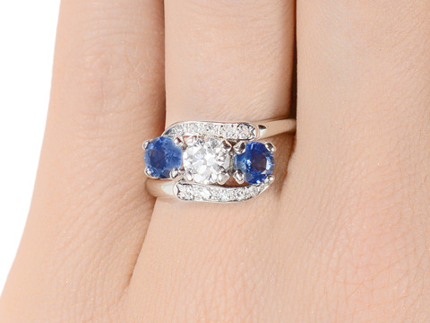 Magic Sapphire Diamond Crossover Ring