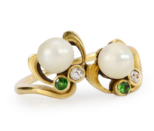 Nouveau Incarnate: Demantoid Garnet Pearl Ring