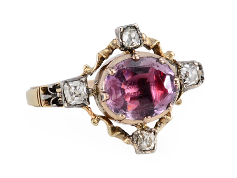 Georgian Ornate Amethyst Diamond Ring