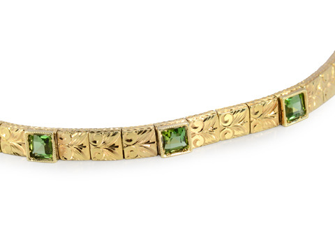 Perfect Vintage Peridot Gold Bracelet