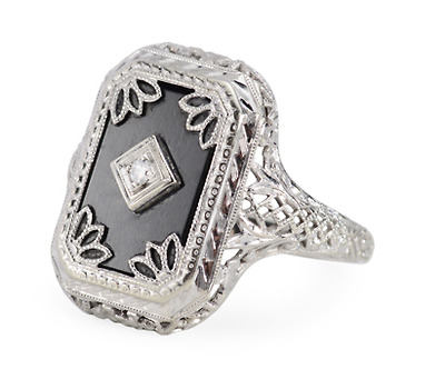 Vintage Onyx Filigree Ring