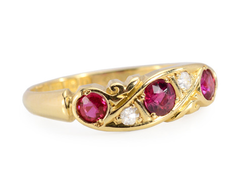 Dated 1913 English Ruby Diamond Ring