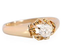 Gold Blossom - Antique Diamond Solitaire Ring