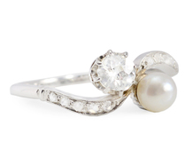 Edwardian Moi et Toi Pearl Diamond Ring