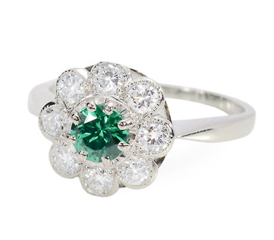 Striking Tsavorite & Diamond Cluster Ring