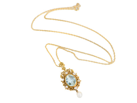 Intricacies Revealed - Aquamarine Pearl Pendant